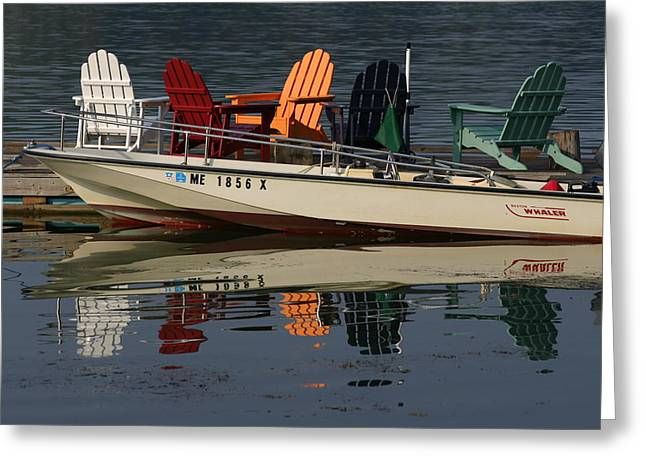 Peaceful Reflections Of Colorful Chairs Greeting Card