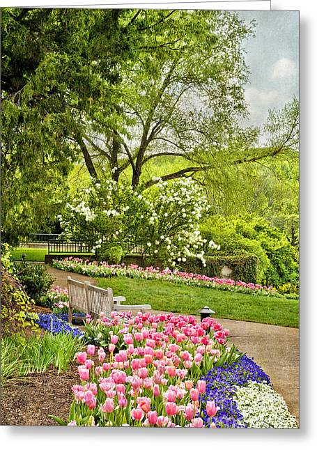Peaceful Spring Park Greeting Card by Cheryl Davis