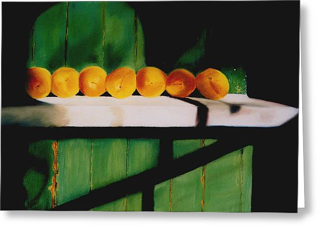Peaches On A Ledge Greeting Card by Elise Okrend