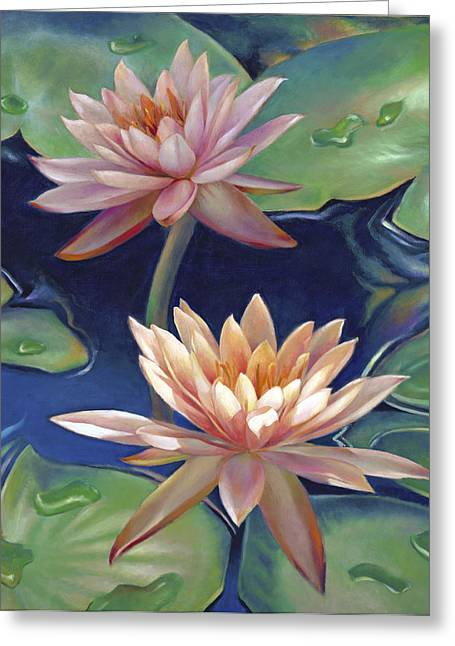 Greeting Card featuring the painting Peachy Pink Nymphaea Water Lilies by Nancy Tilles