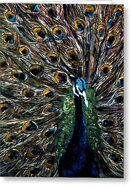 Peacock 2 Greeting Card by Amanda Dinan