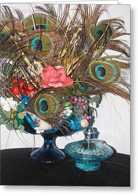 Peacock Feather Center Piece In Blue Glass Greeting Card by HollyWood Creation By linda zanini