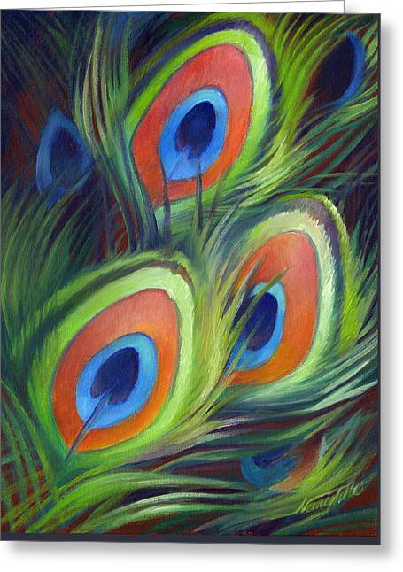 Peacock Feathers Greeting Card by Nancy Tilles