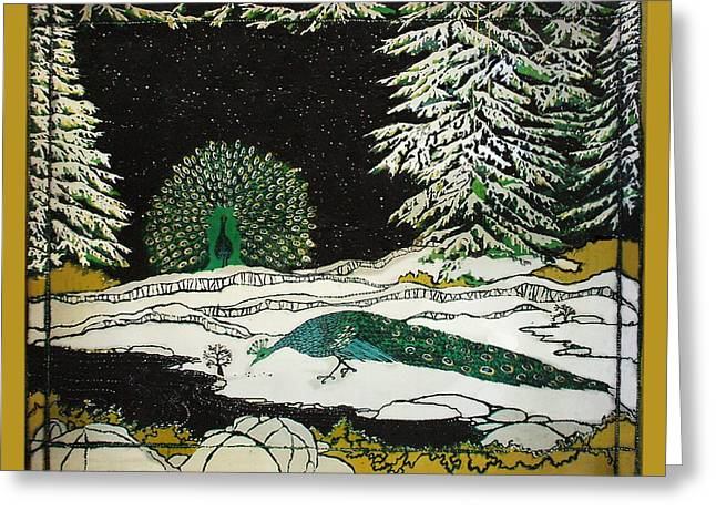 Peacocks In The Snow Greeting Card by Alexandra  Sanders