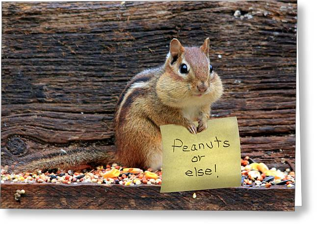 Peanuts Or Else Greeting Card by Lori Deiter