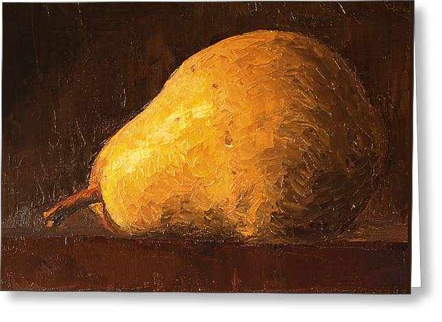 Pear By Knife Greeting Card