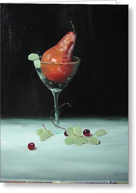 Pear In Martini Glass Greeting Card by Iris Nazario Dziadul
