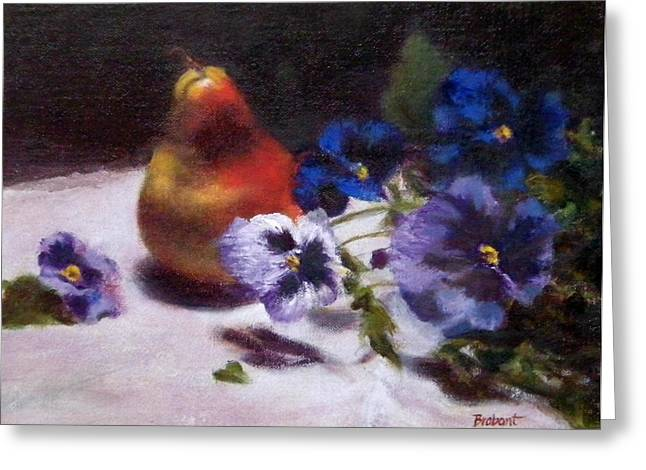 Pear With  Purple Pansies Greeting Card by Jill Brabant