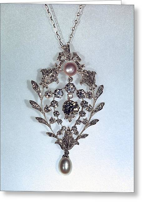 Pearl And Diamond Pendant Greeting Card