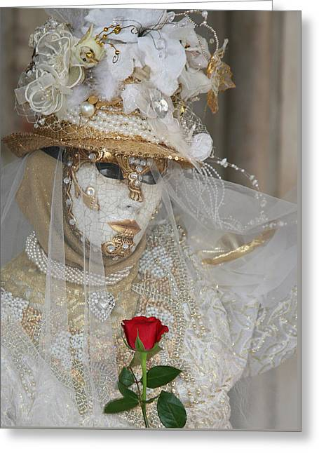 Pearl Bride With Rose 2 Greeting Card by Donna Corless
