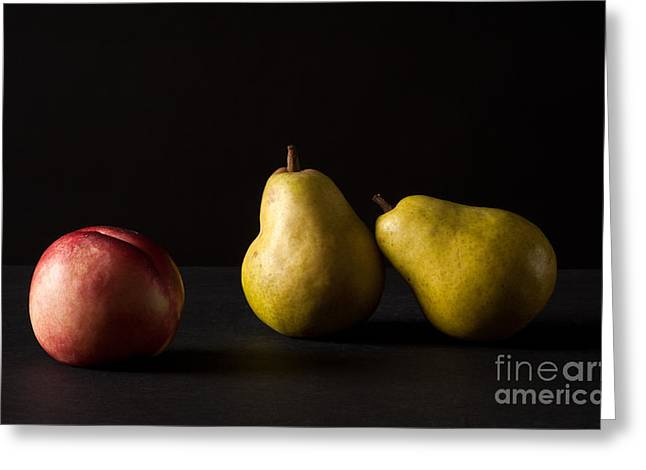 Pears And Peach Greeting Card by Catherine Lau