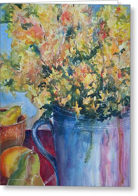 Pears And Petals Greeting Card by Sandy Collier