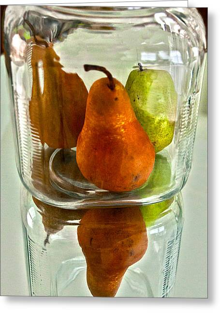 Greeting Card featuring the photograph Pears In A Jar by Susi Stroud