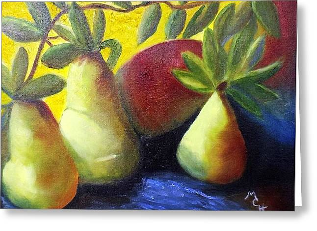 Pears In Sunshine Greeting Card by Margaret Harmon
