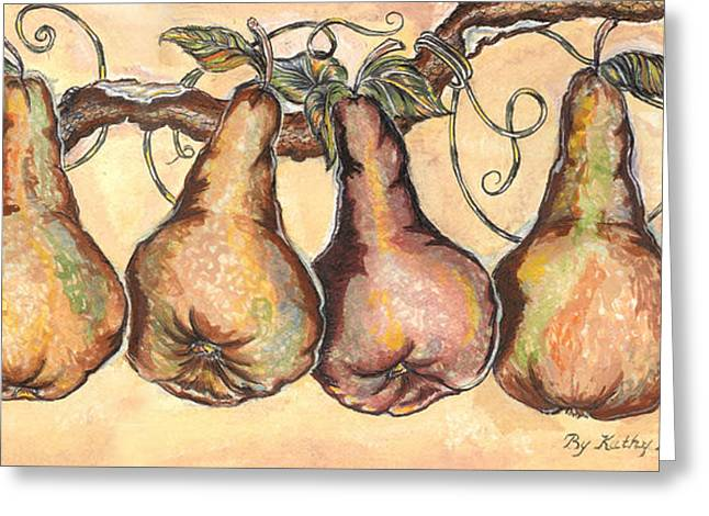 Pears Of The Vine Greeting Card by Kathy-Lou