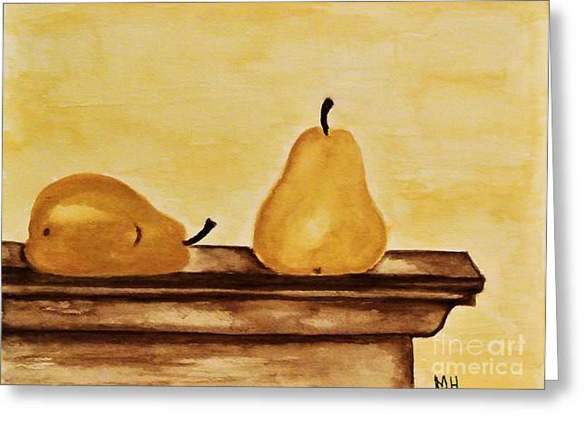 Pears On The Mantle Greeting Card by Marsha Heiken