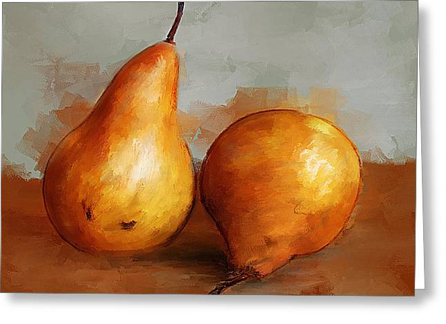 Pears Still Life Greeting Card by Michael Greenaway