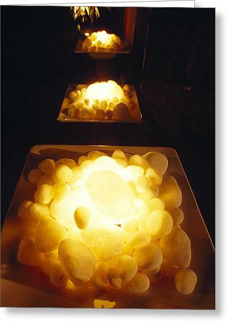 Pebbles Illuminated Greeting Card by Jason Edwards