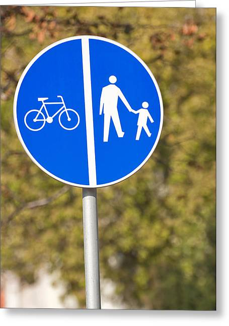 Pedestrian And Bicycle Crossing Sign. Greeting Card