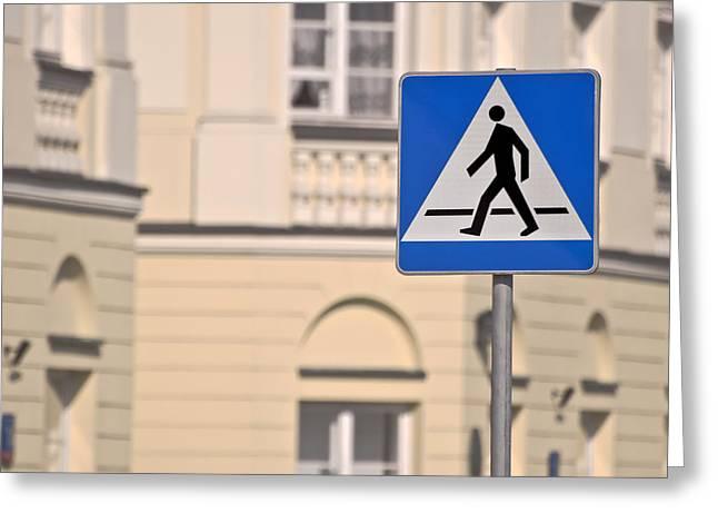 Pedestrian Crossing Sign. Greeting Card
