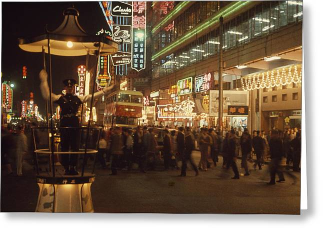 Pedestrians Swarm Through Kowloons Greeting Card