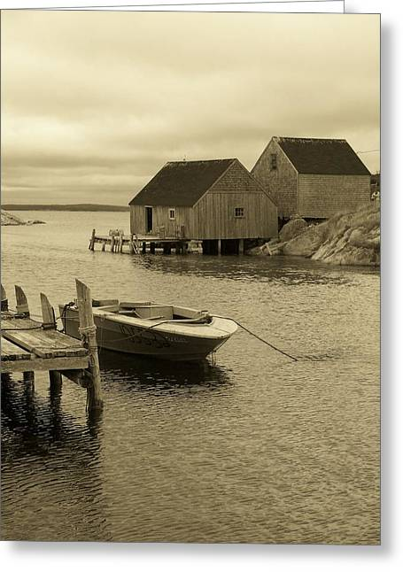 Peggys Cove In Sepia Greeting Card by Richard Bryce and Family