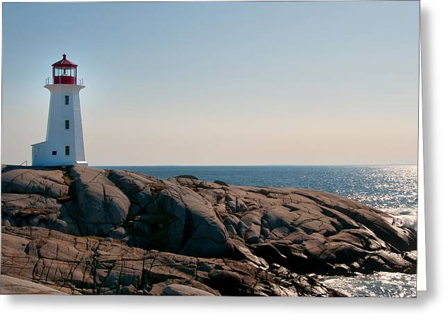 Peggy's Cove Lighthouse Greeting Card by Sandra Adamson