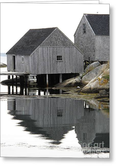 Peggy's Cove Sheds Greeting Card by Louise Peardon