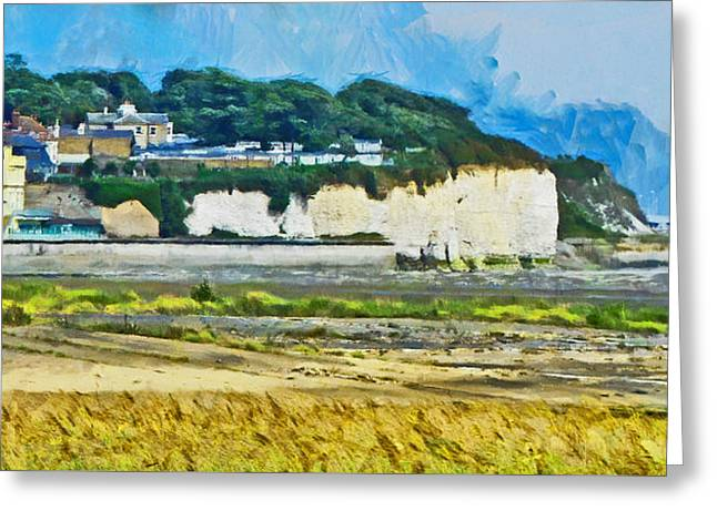 Greeting Card featuring the digital art Pegwell Bay by Steve Taylor