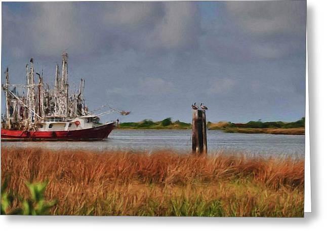 Pelican And The Red Shrimpboat Greeting Card by Michael Thomas