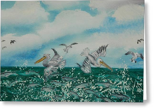 Pelican Feast Greeting Card by Katheryn Napier