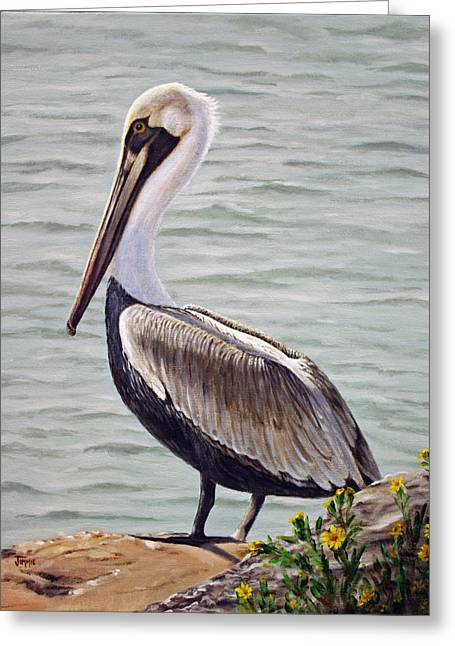 Greeting Card featuring the painting Pelican On The Waterway by Jimmie Bartlett