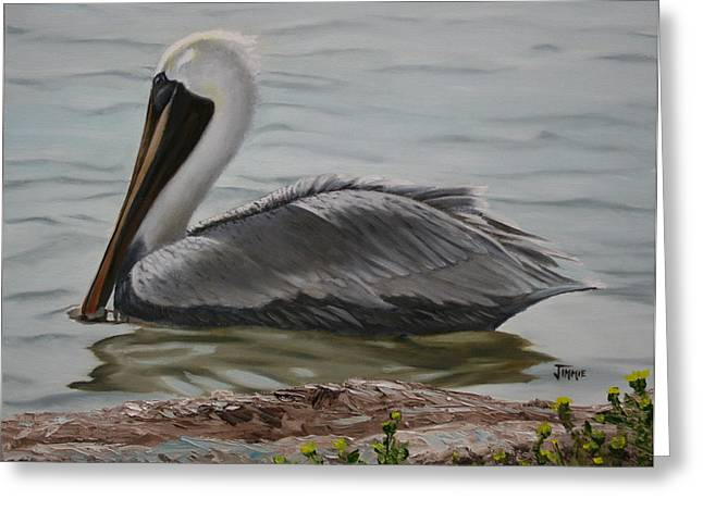 Greeting Card featuring the painting Pelican Swim by Jimmie Bartlett