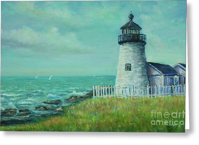 Greeting Card featuring the painting Pemaquid Point Lighthouse by Katalin Luczay