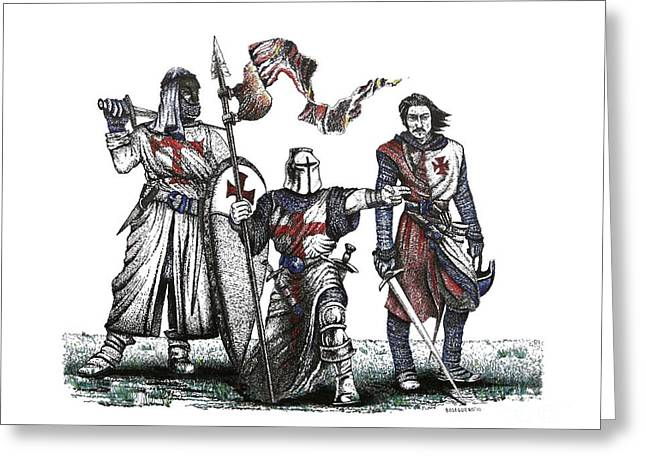 Pen And Ink Drawing Of Templaries  Greeting Card by Mario Perez