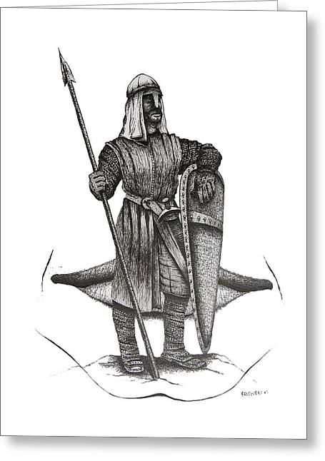Pen And Ink Drawing Of The Guardian Greeting Card by Mario Perez