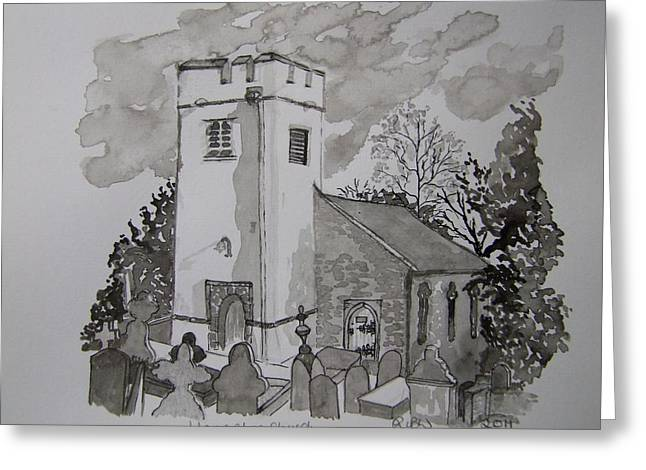 Pen And Ink-llanarthne Church-01 Greeting Card by Pat Bullen-Whatling