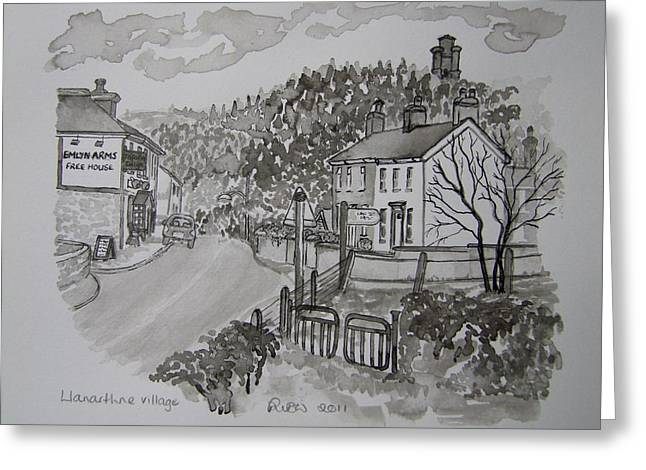 Pen And Ink-llanarthne Village-emlyn Arms Pub-01 Greeting Card by Pat Bullen-Whatling