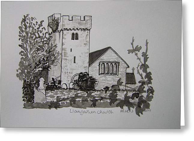 Pen And Ink-llangathen Church-02 Greeting Card by Pat Bullen-Whatling