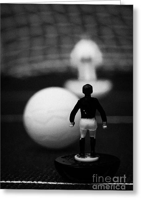 Penalty Kick Football Soccer Scene Reinacted With Subbuteo Table Top Football Players Game Greeting Card by Joe Fox