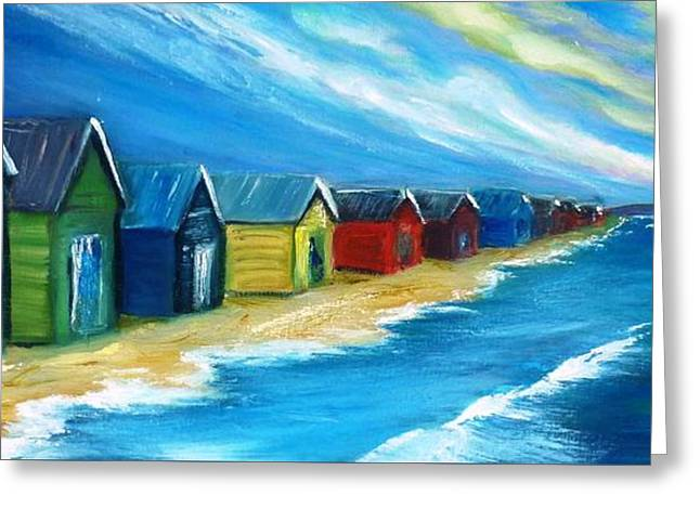 Peninsular Boatsheds Greeting Card by Therese Alcorn