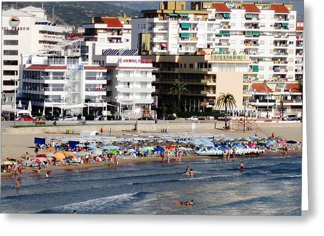 Peniscola Beach By Mediterranean Sea In Spain Greeting Card