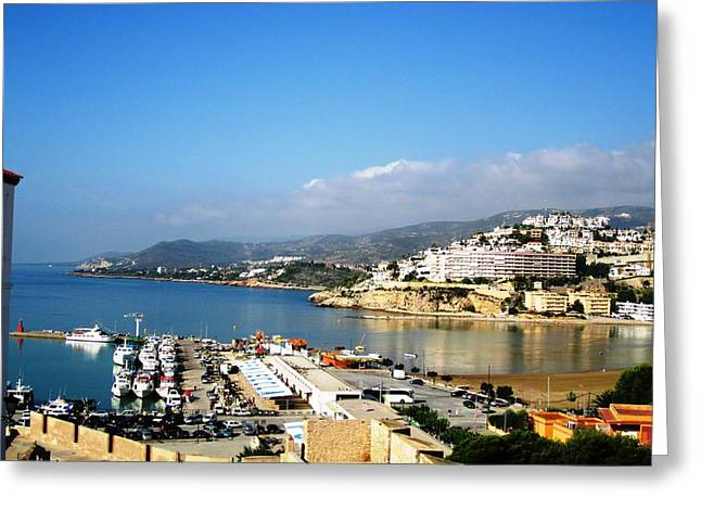 Peniscola Marina Water Reflection Sea View At The Mediterranean Water Front Homes In Spain Greeting Card