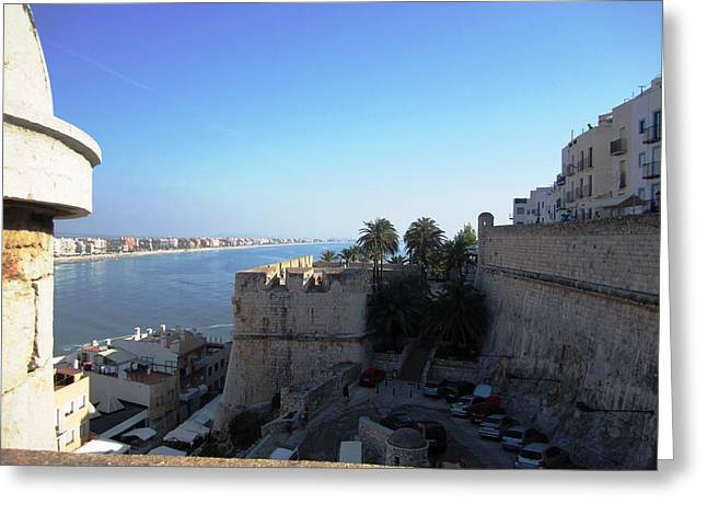 Peniscola Panoramic View At The Mediterranean Sea In Spain Greeting Card