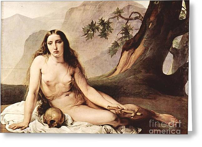 Penitent Mary Magdalene Greeting Card by Pg Reproductions
