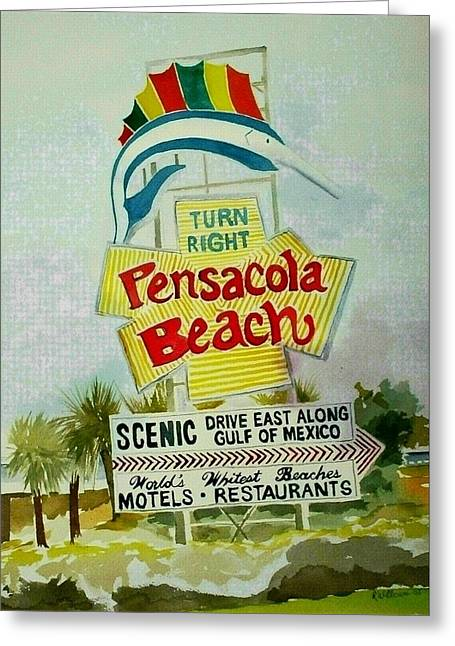 Greeting Card featuring the painting Pensacola Beach Sign by Richard Willows
