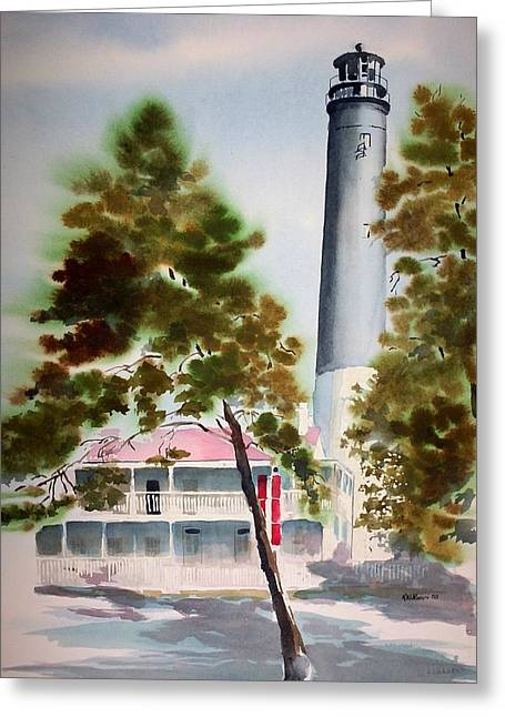 Greeting Card featuring the painting Pensacola Light by Richard Willows