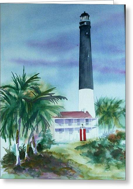 Greeting Card featuring the painting Pensacola Lighthouse by Richard Willows