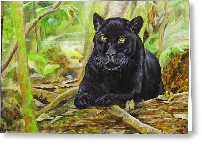 Pensive Panther Greeting Card by Maureen Pisano