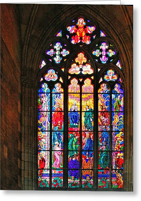 Pentecost Window - St. Vitus Cathedral Prague Greeting Card